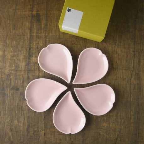Set de 5 assiettes fleurs de cerisier - Rose -