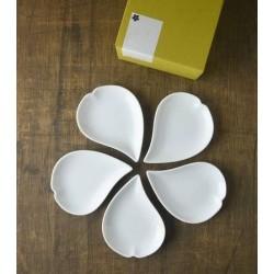 Set de 5 assiettes fleur de cerisier - Blanc -
