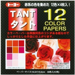 TANT 12 color papers 150mm - Rouge -