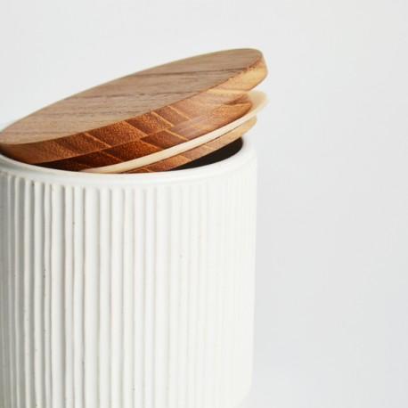Pot de conservation en porcelaine Minô - Blanc -