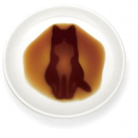 Assiette sauce soja - Chat assis