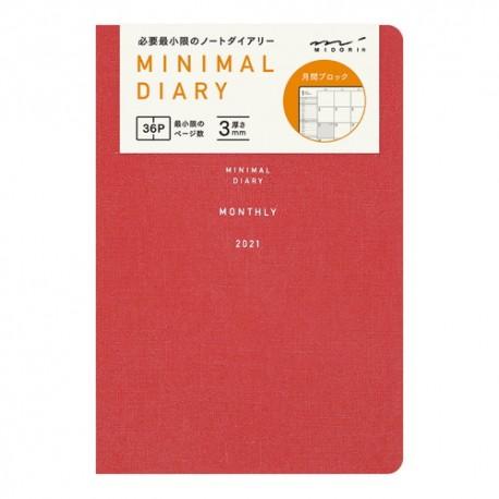 Midori Agenda 2021 - Minimal Diary - Rouge